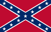 "The ""Rebel flag,"" adapted from a Confederate battle flag."