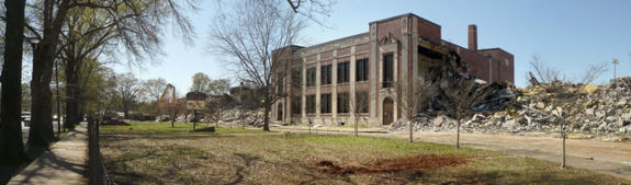 Demolition of West End High School in March 2009