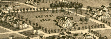 Capitol Park with the 1870s Alabama Mineral Exposition Building, seen in Henry Wellge's 1885 Bird's Eye view of Birmingham
