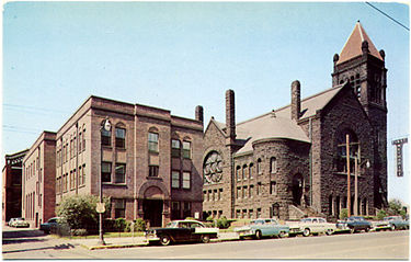 1950s postcard view of First Methodist