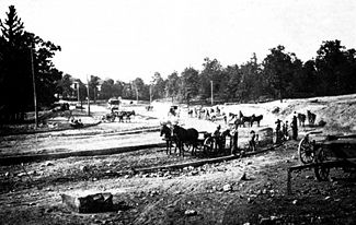 Construction of Highland Avenue in 1885
