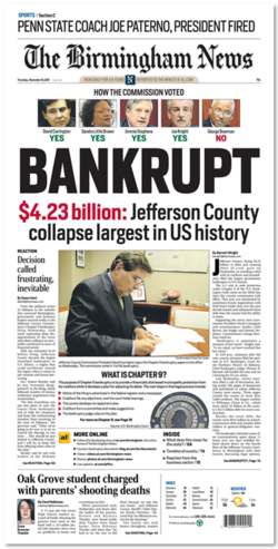 Jefferson County filed for Chapter 9 bankruptcy protection on November 9.