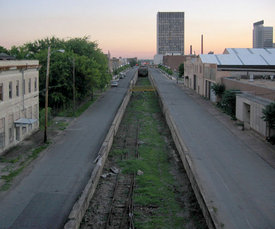 The 1st Avenue Cut, looking west from the 24th Street Viaduct in 2005