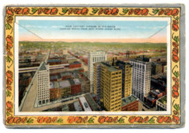 "1920s postcard view of the ""Four Heaviest Corners in the South"""