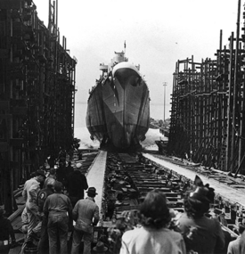 The launch of the USS Birmingham, March 20, 1943