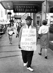 A protester at Loveman's in the early 1960s courtesy BPL Archives