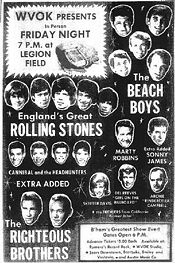 "Ad for a May 7, 1965 ""Shower of Stars"" concert featuring the Rolling Stones and the Beach Boys at Legion Field"