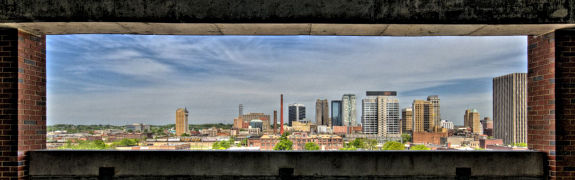 Skyline of Birmingham framed by a UAB parking deck. April 18, 2008 by DelosJ