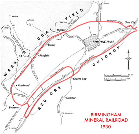 The Birmingham Mineral Railroad in 1930