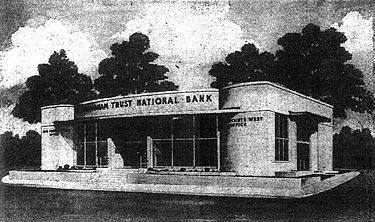 1951 rendering of the bank branch