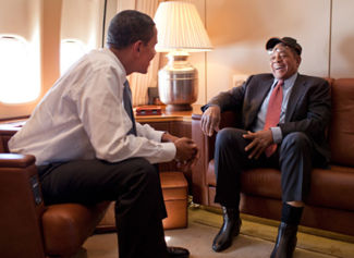 Willie Mays on board Air Force One with President Obama en route to the 2009 All Star Game