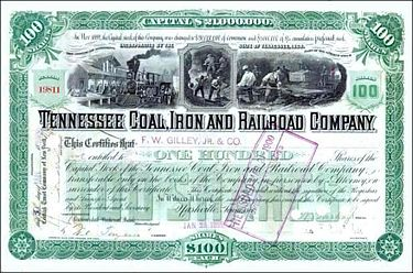Tennessee Coal, Iron and Railroad Company stock certificate