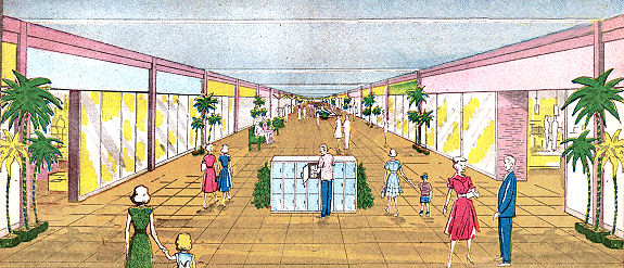 "1960 interior rendering of the ""mall"" passageway at Eastwood Mall"